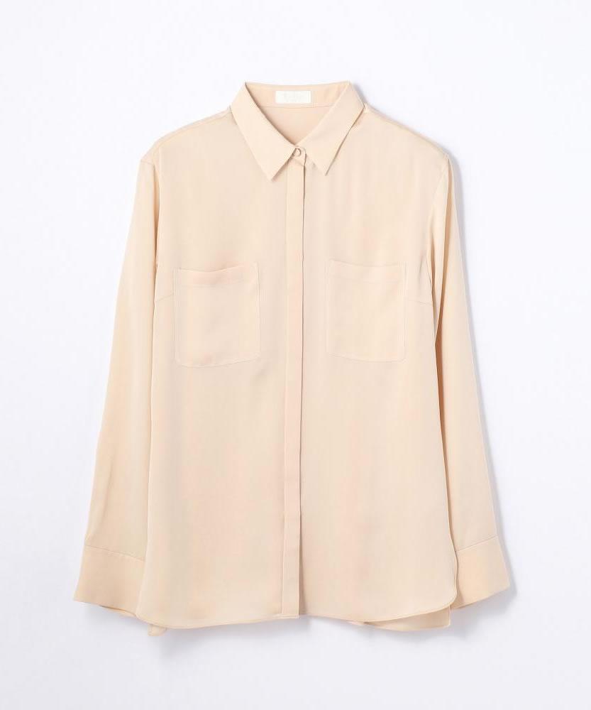 シルクシアーサテン バックタックシャツ