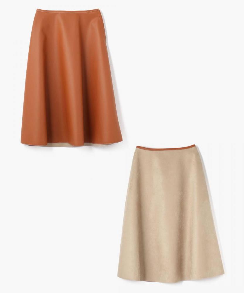 フェイクレザーボンディング フレアスカート