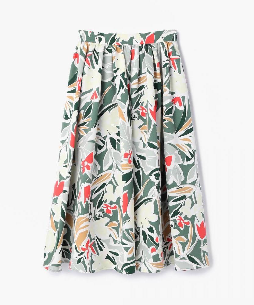 フラワープリント タックギャザースカート