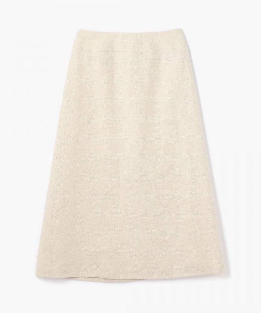 リネンシルクグレンチェック ミディトラペーズスカート