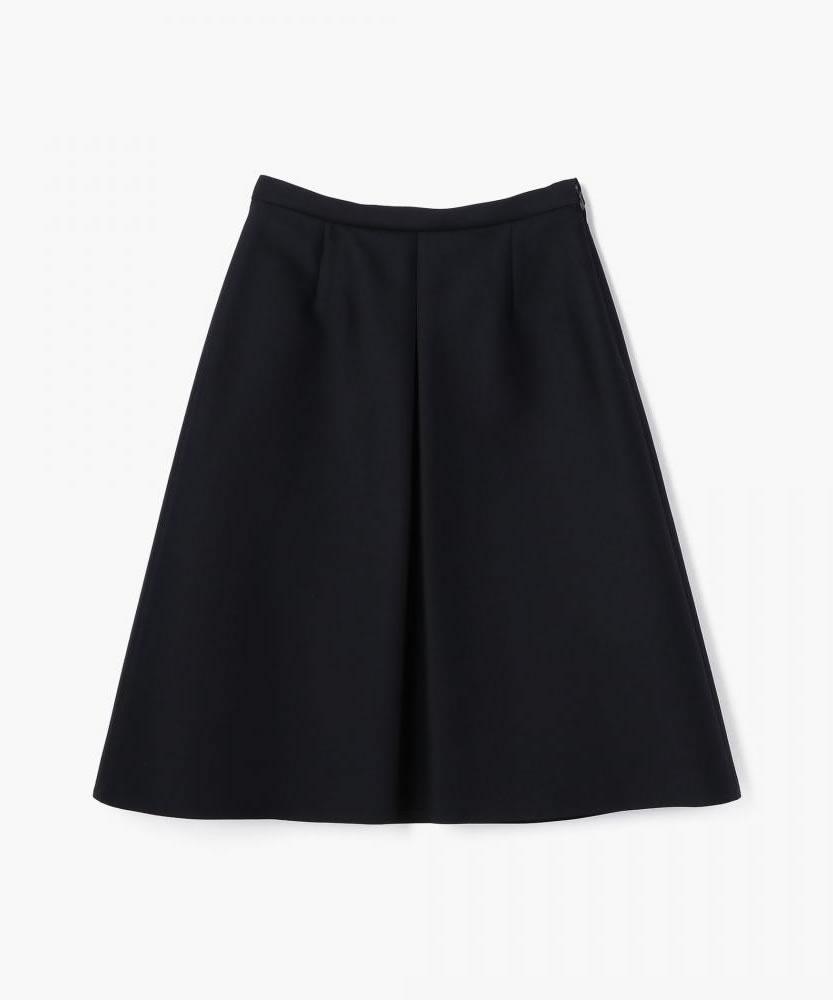 ウールシルクツイル ボックスプリーツスカート
