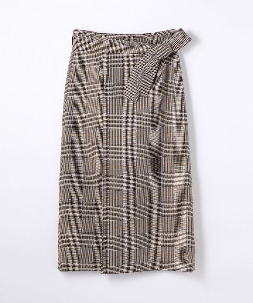 ポリエステルウールチェック ベルテッドスカート