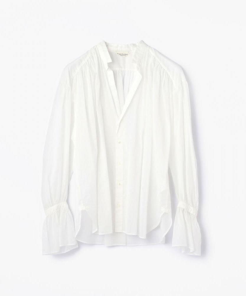 コットンボイル フレアスリーブシャツ