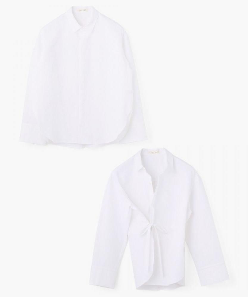 コットン 2-wayカシュクールシャツ