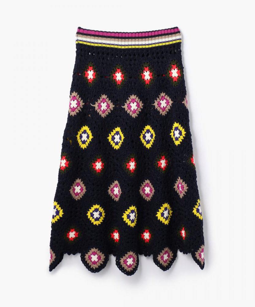 ウールクロシェ フレアミディスカート