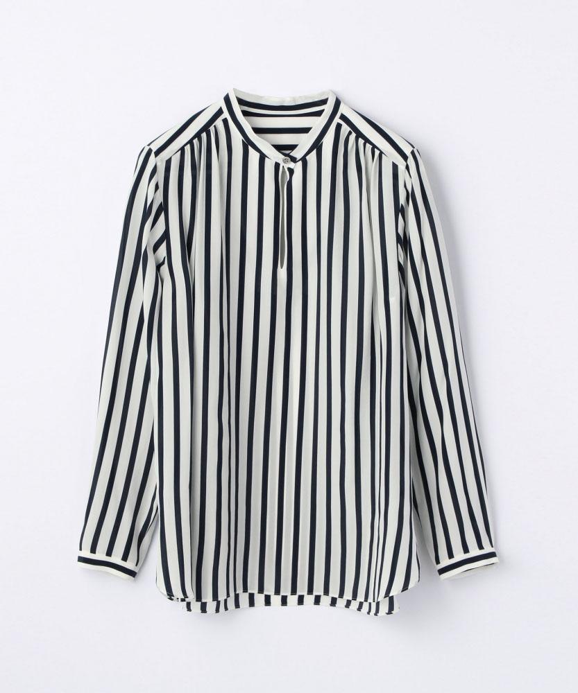 レーヨンシルクストライプ スタンドカラーシャツ