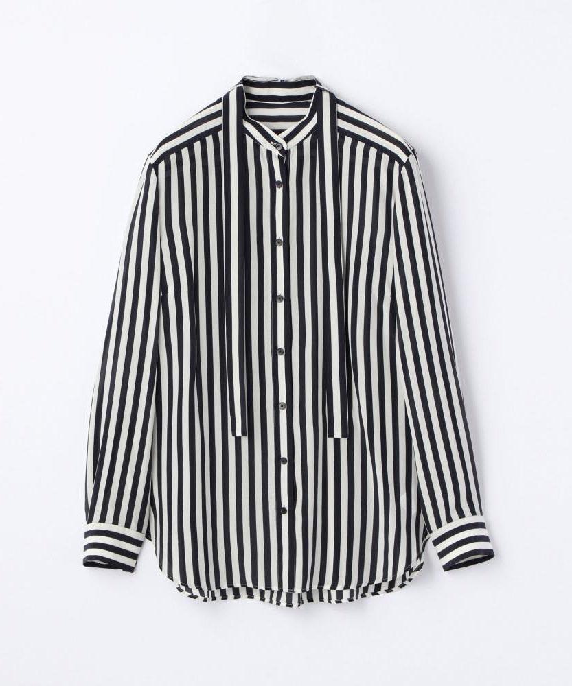 レーヨンシルクストライプ スタンドカラーボウタイシャツ