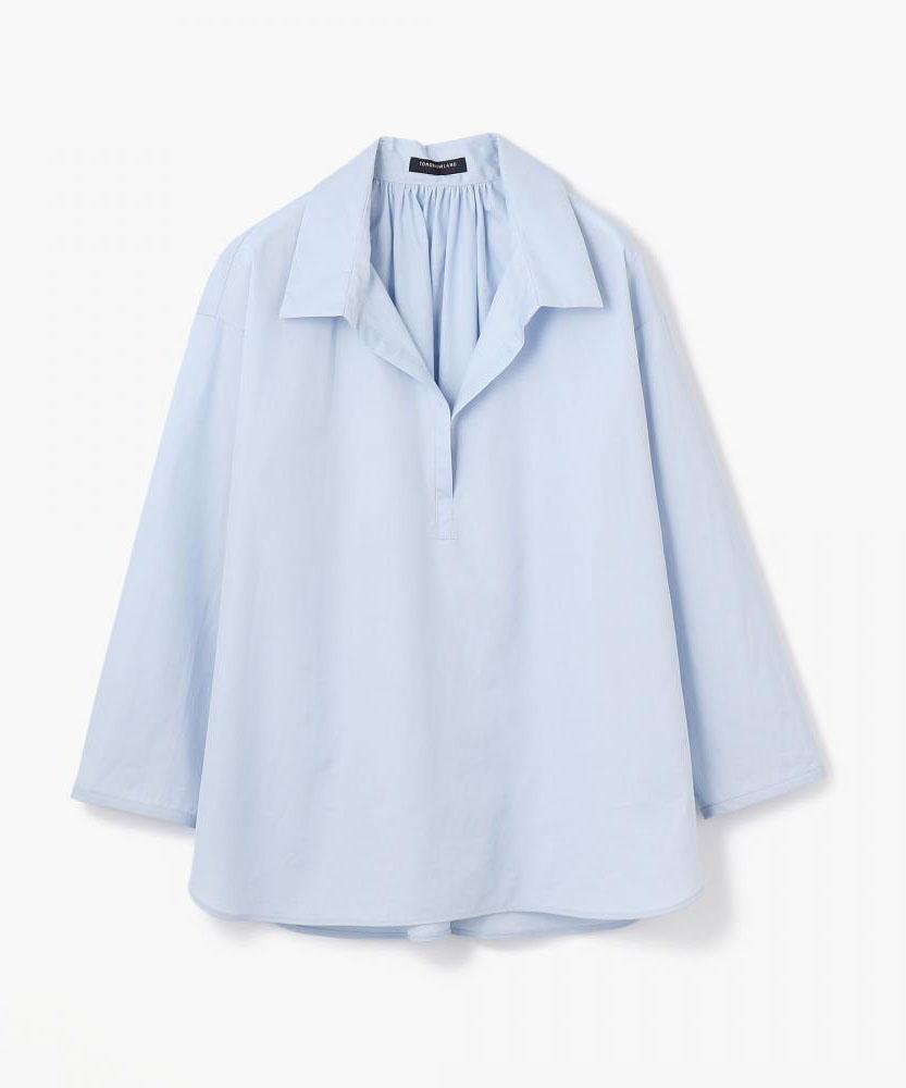 コットンタイプライター バックギャザーシャツ