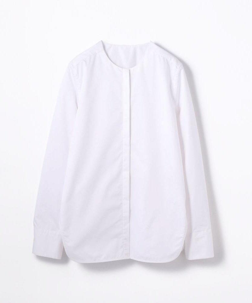 コットンポリエステル ノーカラーシャツ