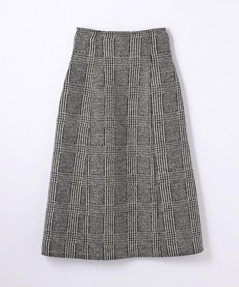 ウールアクリルチェック トラペーズスカート