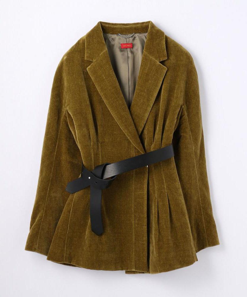 ベルベット ウエストタックベルテッドジャケット