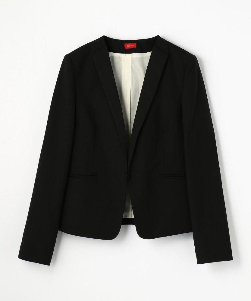 ウールポリエステルカルゼ Vネックジャケット