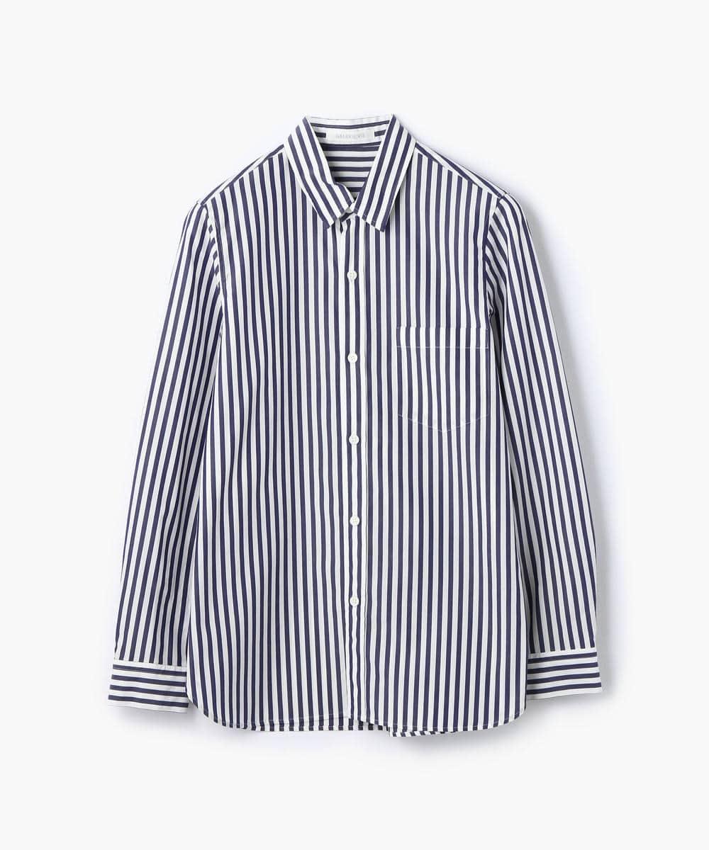 コットンブロードストライプ レギュラーシャツ