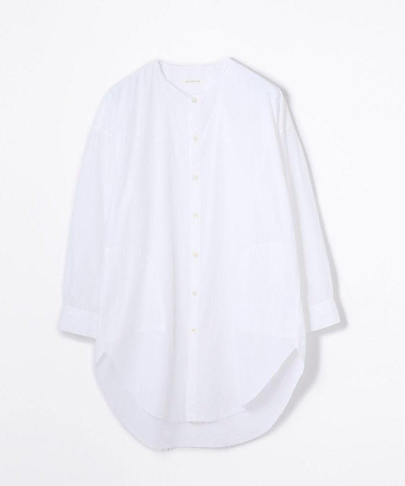 コットン ノーカラーロングシャツ