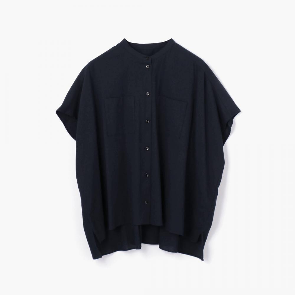 コットンボイル スタンドカラーワイドシャツ
