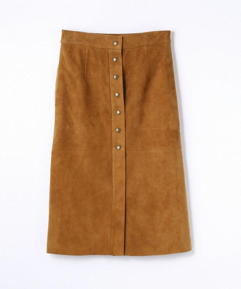 ラムレザー フロントボタンミディスカート