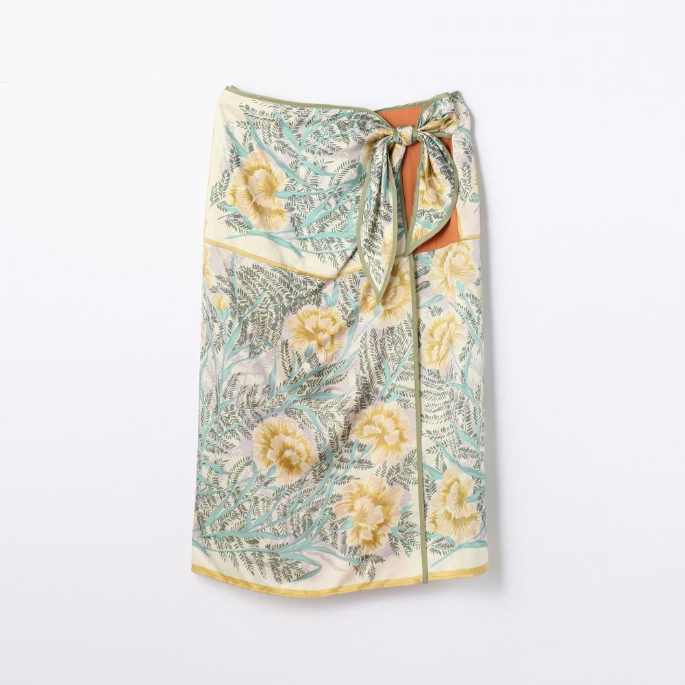 フラワースカーフプリント ラップスカート