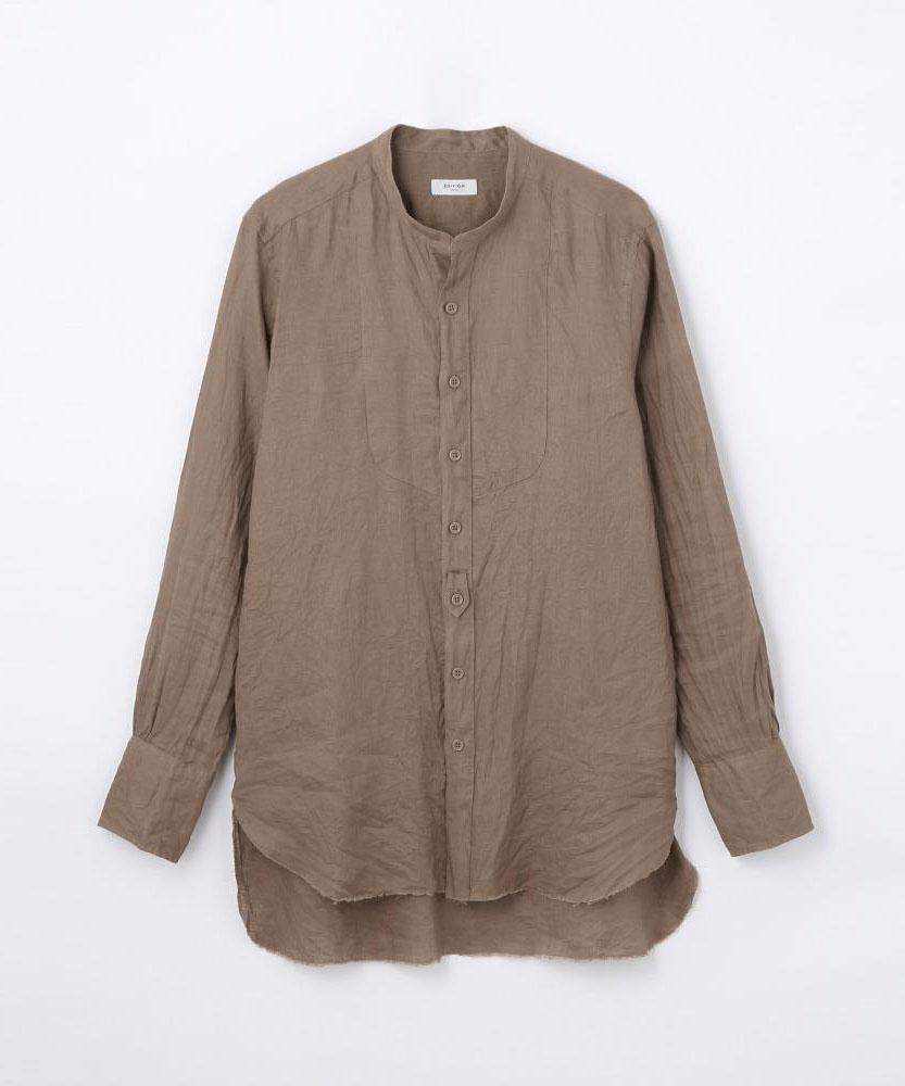 リネン ノーカラーシャツ