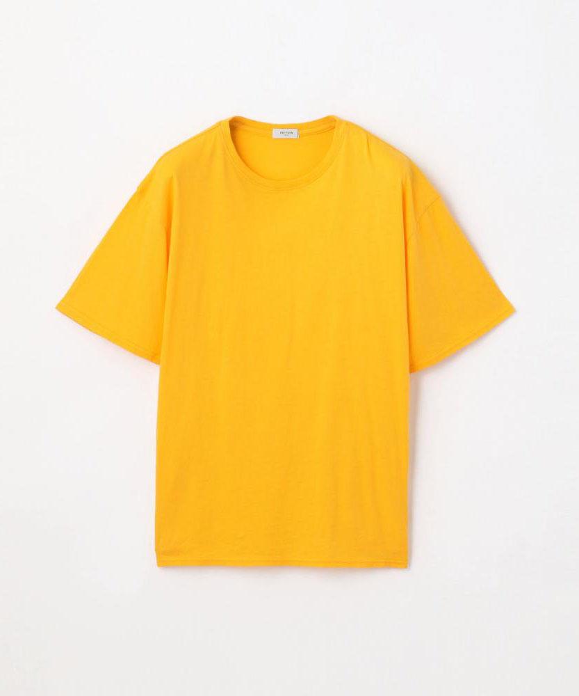 コットン サイドスリットクルーTシャツ