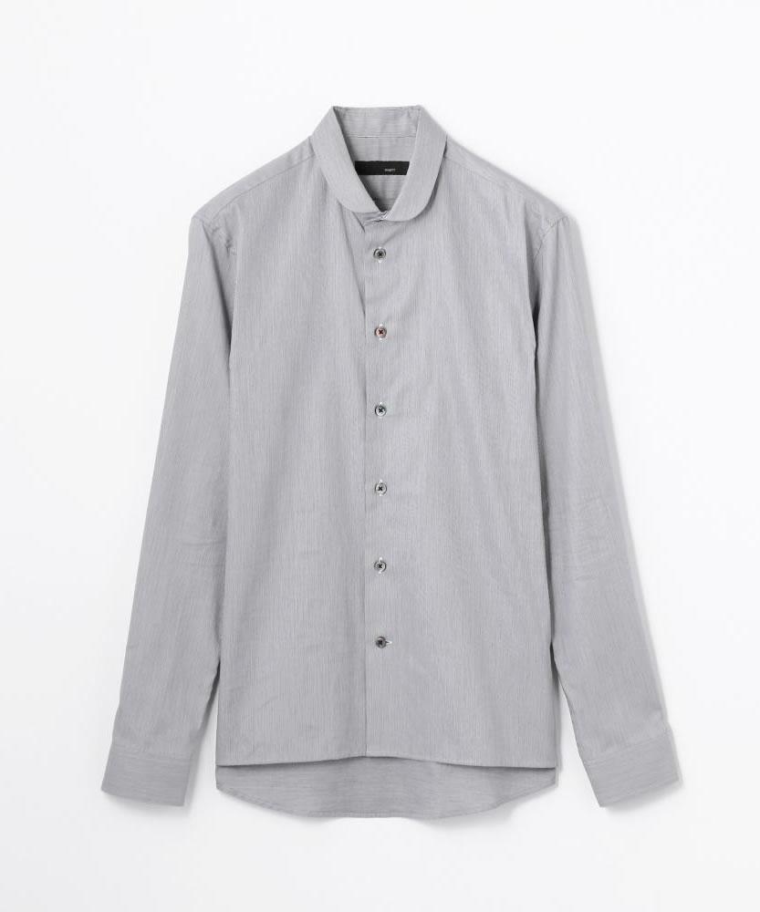 ヘアラインストライプ ミニラウンドカラーシャツ