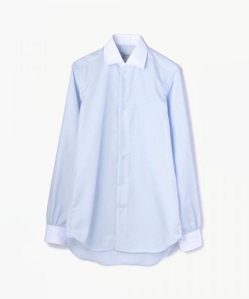 100/2コットンブロード ワイドカラークレリックシャツ(ノンアイロン)
