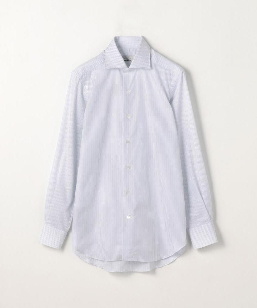 120/2コットンストライプ ワイドカラードレスシャツ NEW WIDE-V