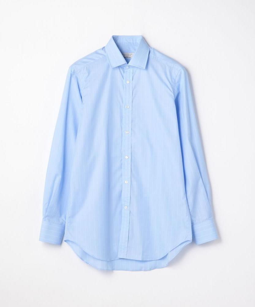 120/2コットンピンストライプ ワイドカラードレスシャツ NEW WIDE-5
