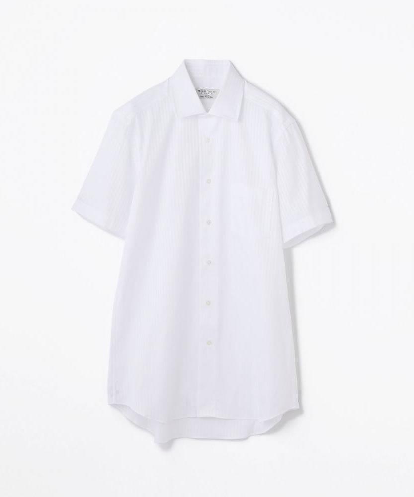コットンドビーストライプ ワイドカラーショートスリーブシャツ