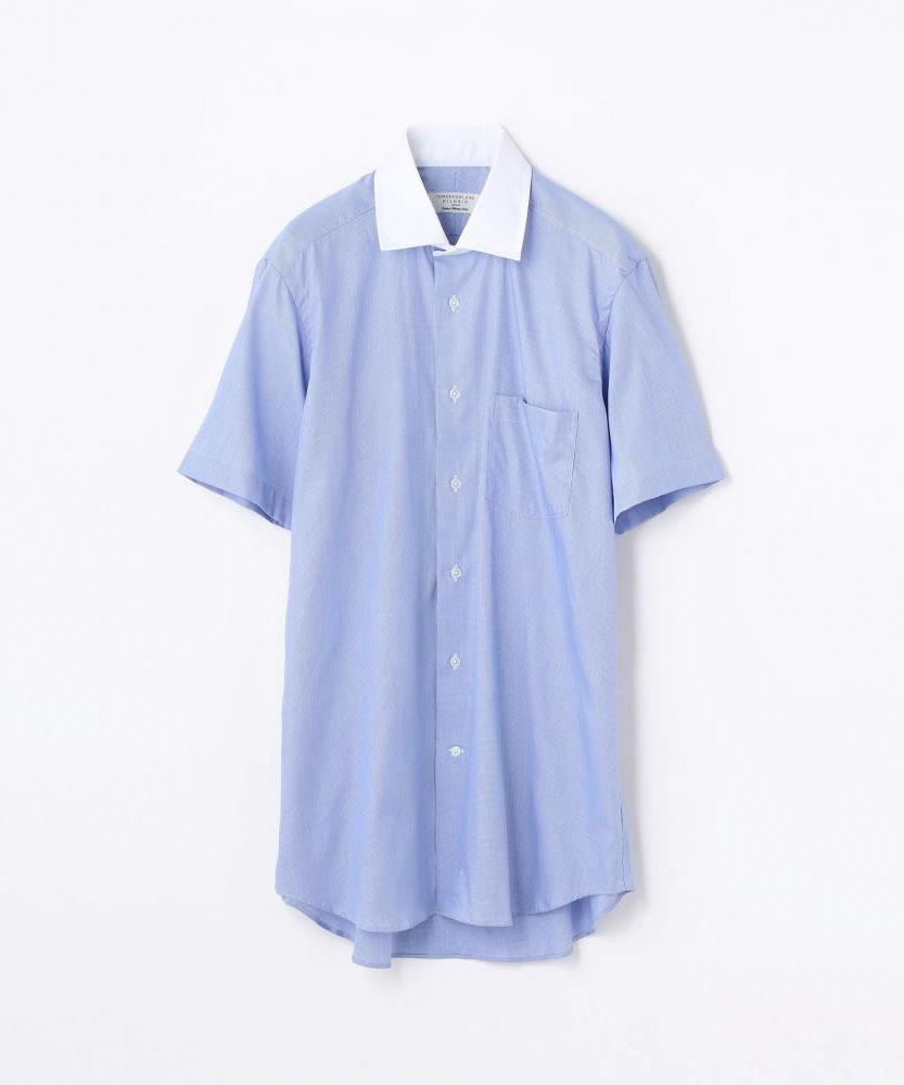 コットンツイル ワイドカラーショートスリーブシャツ