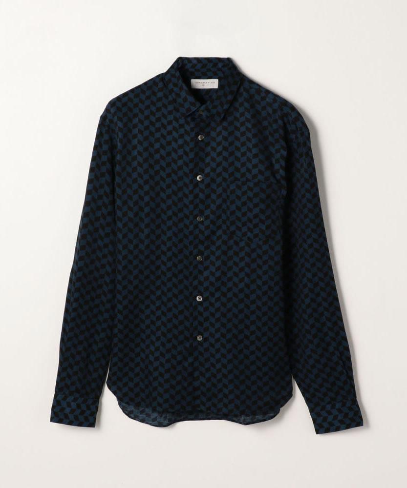 キュプラコットンプリント レギュラーカラーシャツ