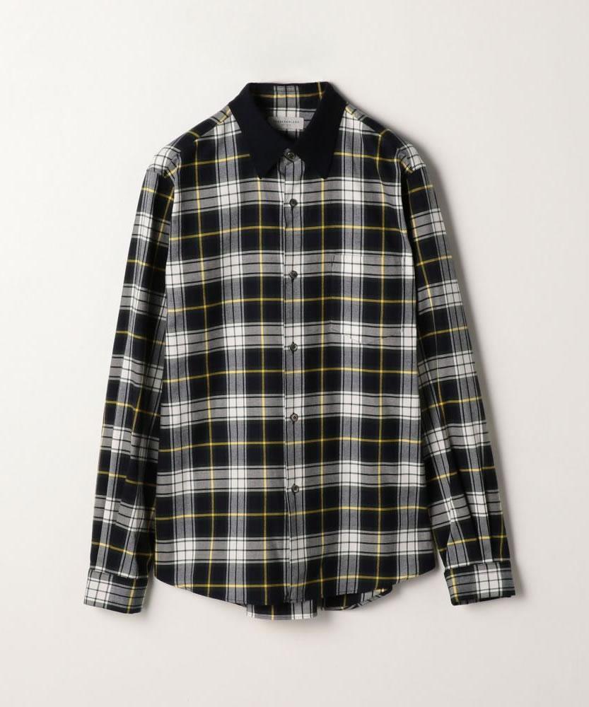 80/2コットンネル ニットカラーシャツ
