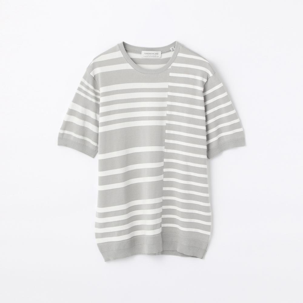 マルチストライプ ニットTシャツ