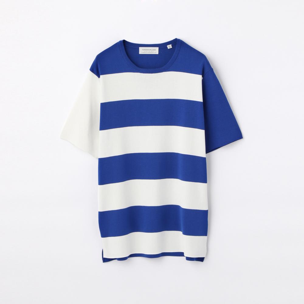 ワイドボーダー ニットTシャツ