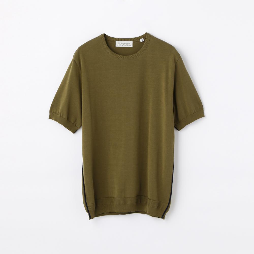 サイドパイピング ニットTシャツ