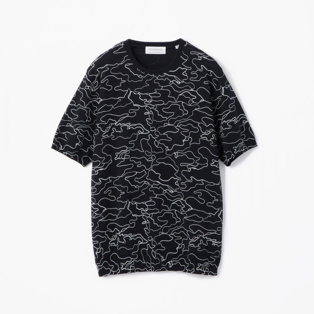 ラインカモフラージュ ニットTシャツ
