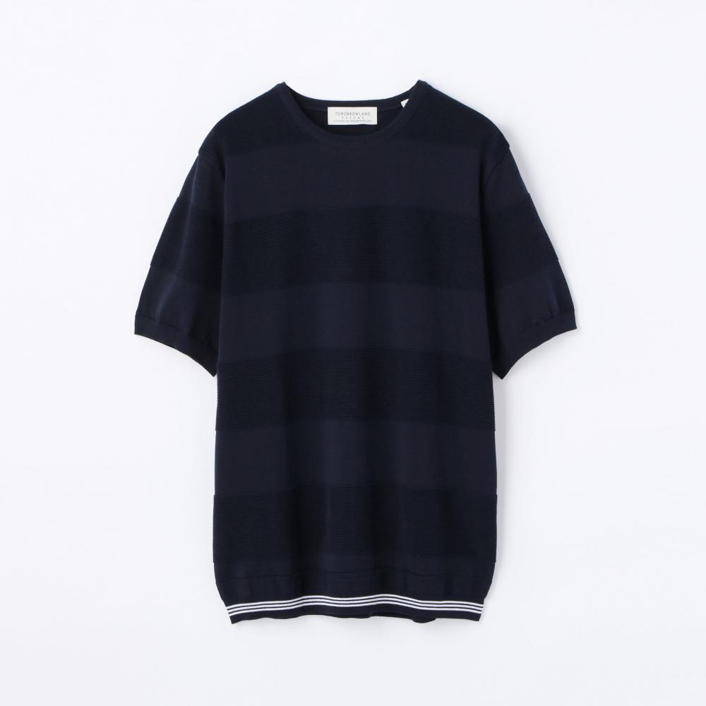 ワッフルボーダー ニットTシャツ