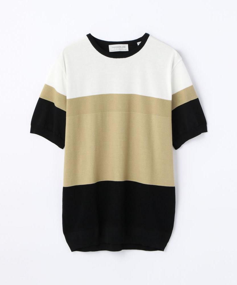 カラーパネル ニットTシャツ