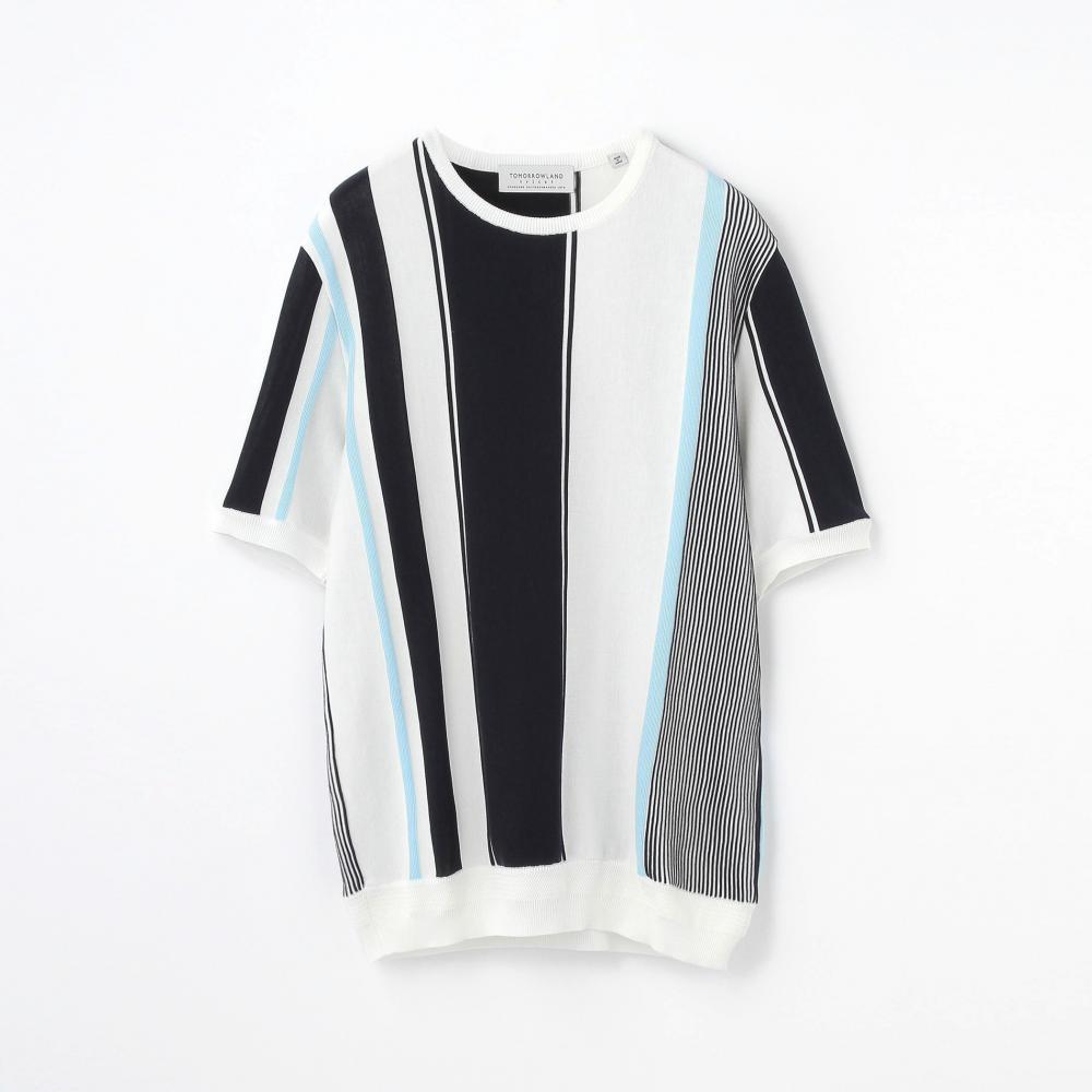 オルタネイトストライプ ニットTシャツ