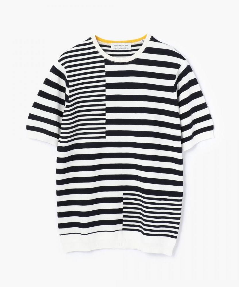 パズルストライプ ニットTシャツ