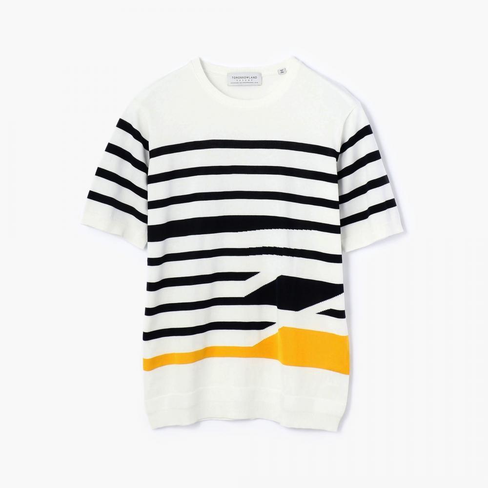 マリンストライプ ニットTシャツ