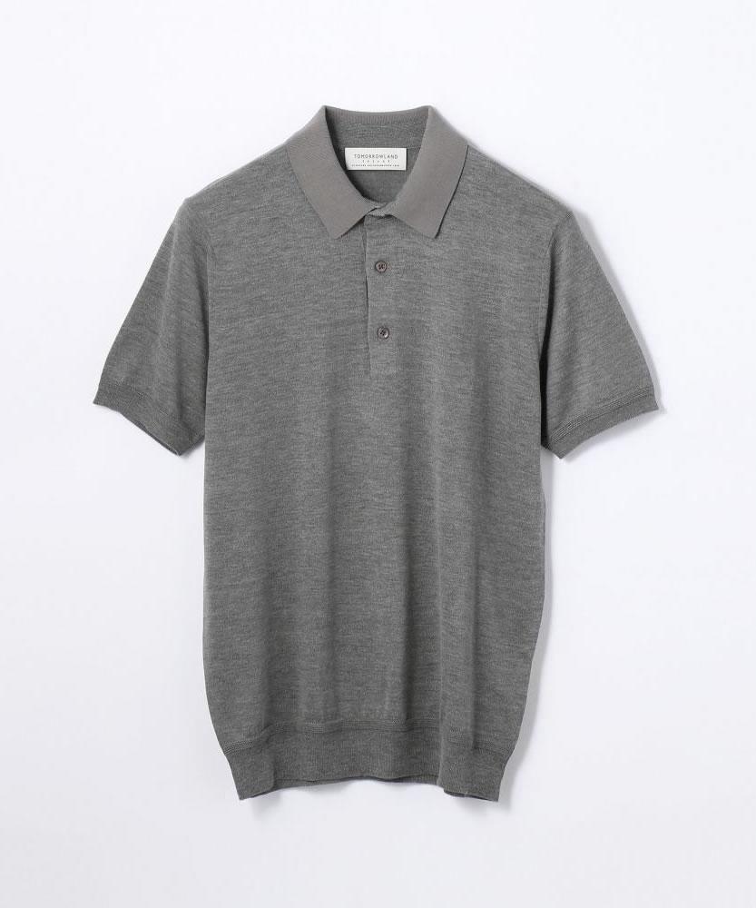 コットンシルク ニットポロシャツ