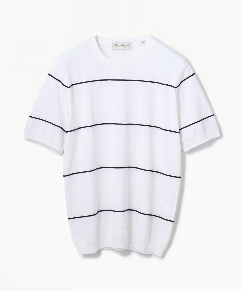 ロープボーダー ニットTシャツ