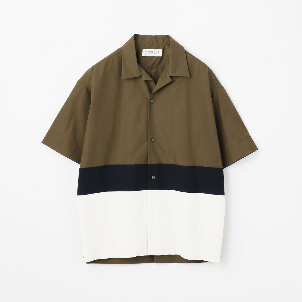 ニットコンビ オープンカラーショートスリーブシャツ