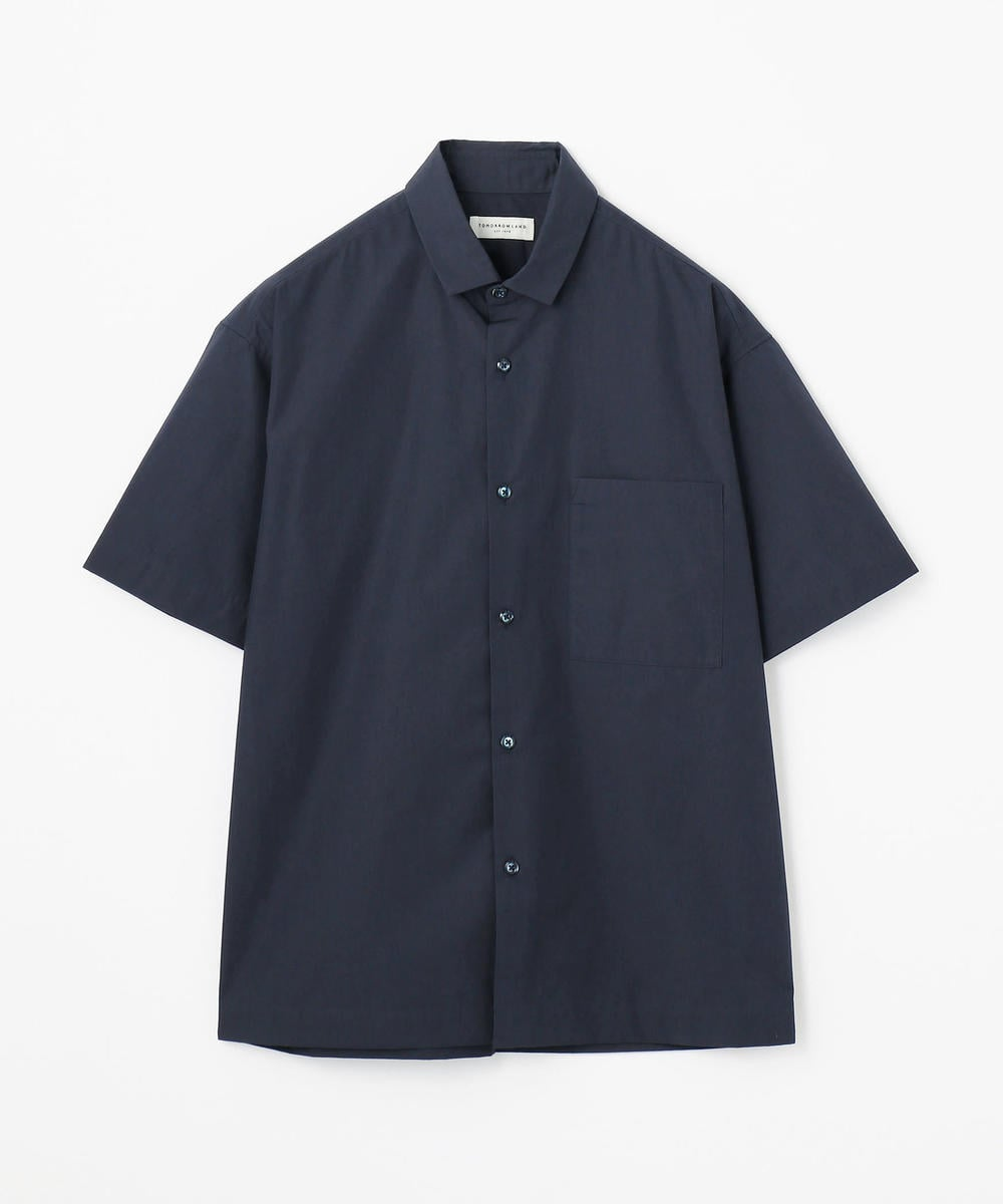 コットンポリエステルタイプライター レギュラーカラーショートスリーブシャツ