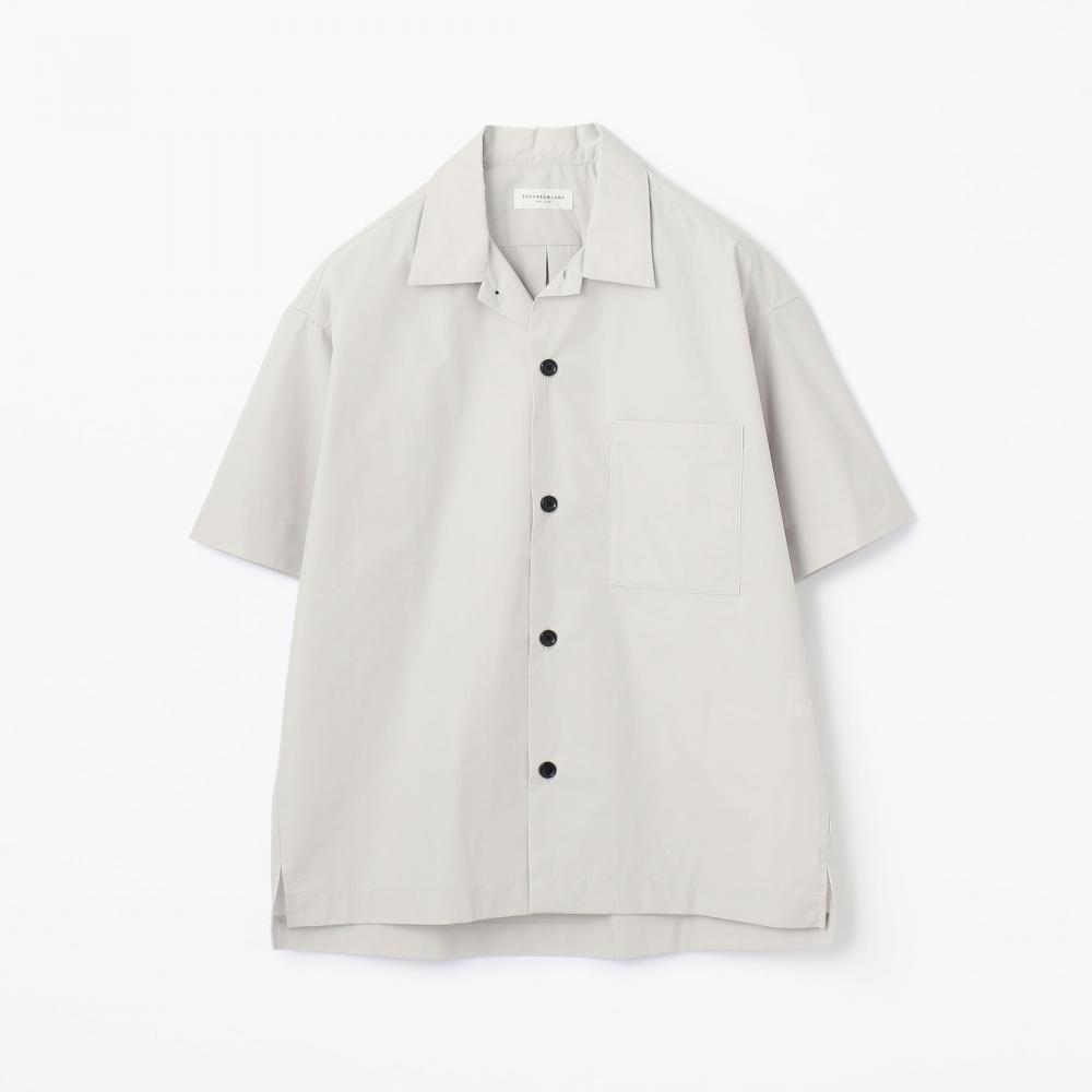 コットンポリエステルタイプライター オープンカラーショートスリーブシャツ