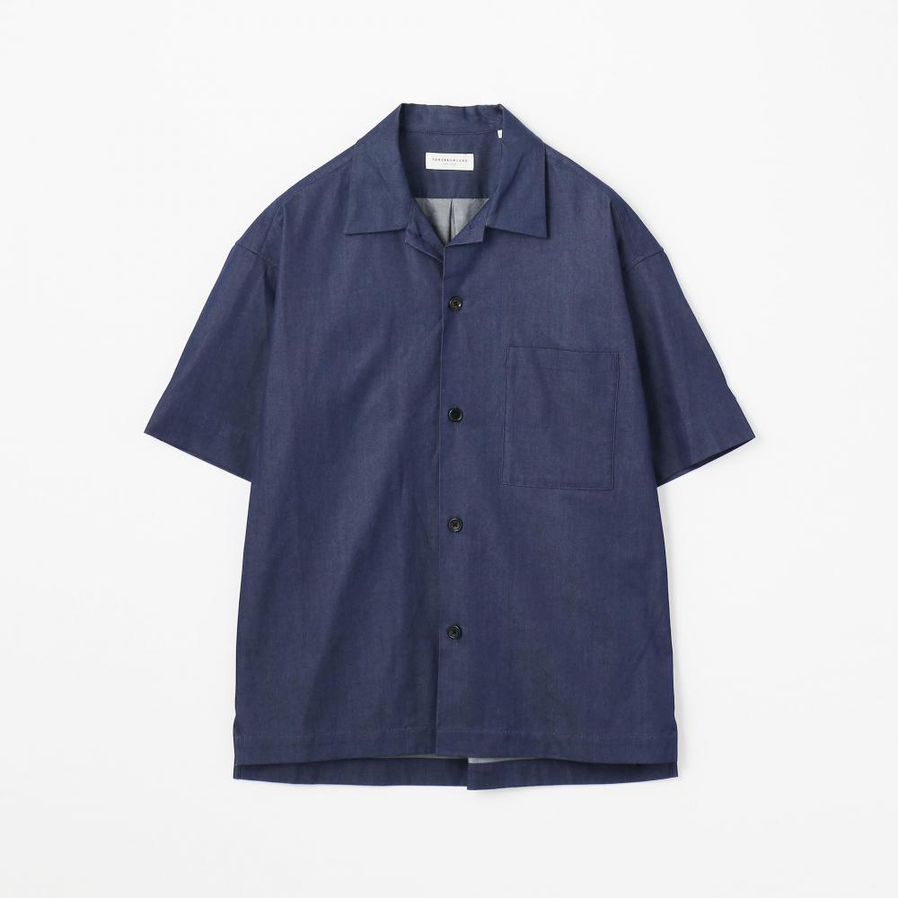 80/2インディゴ オープンカラーショートスリーブシャツ