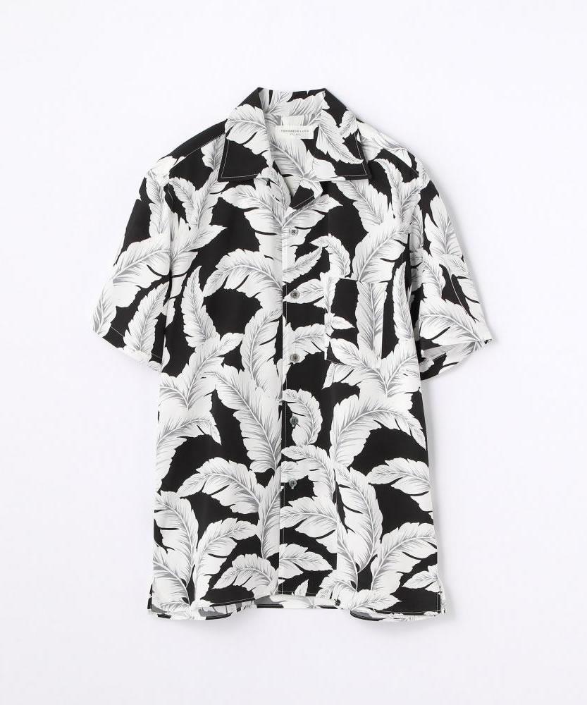 リーフプリント オープンカラーショートスリーブシャツ