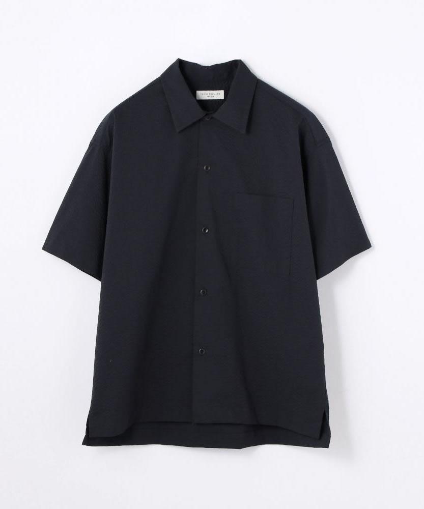 ポリエステルコットンサッカー オープンカラーショートスリーブシャツ