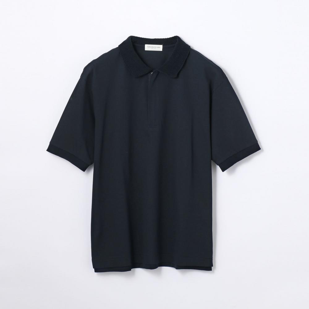 コットンシルク鹿の子 ジップアップポロシャツ