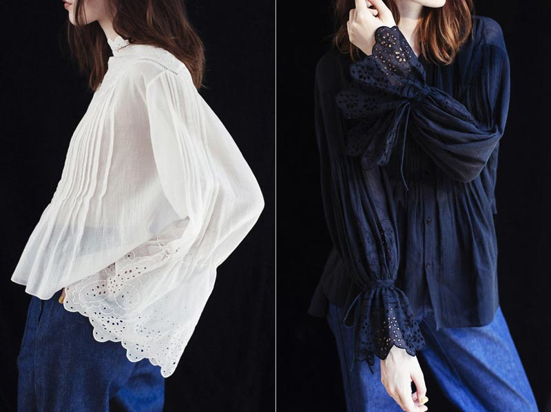 Scallop Sleeve Lace Blouse
